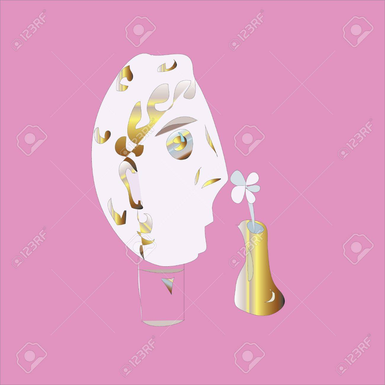 Man smelling a flower and chamomile wondering - likes, dislikes Stock Vector - 21645011