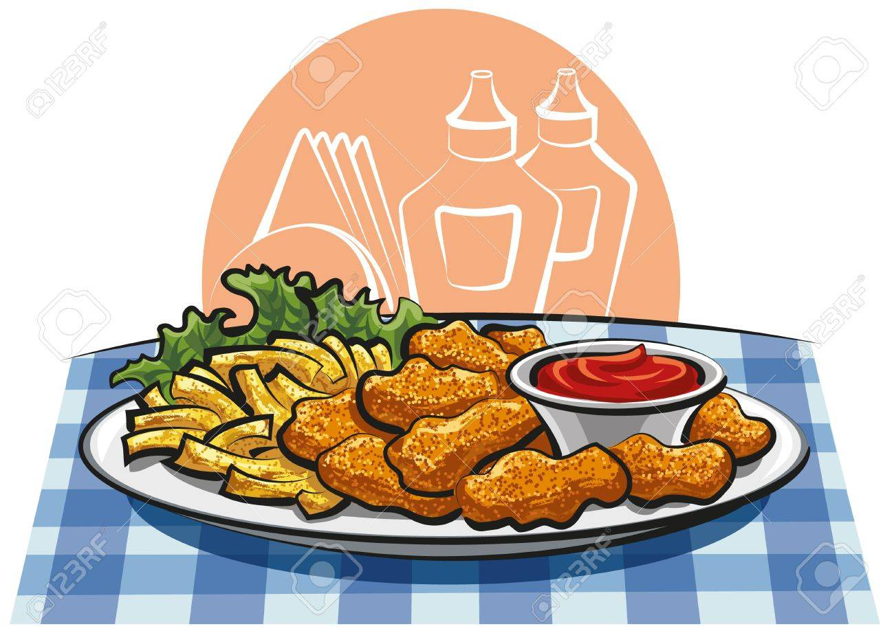 chicken nuggets and french fries Stock Vector - 12011146