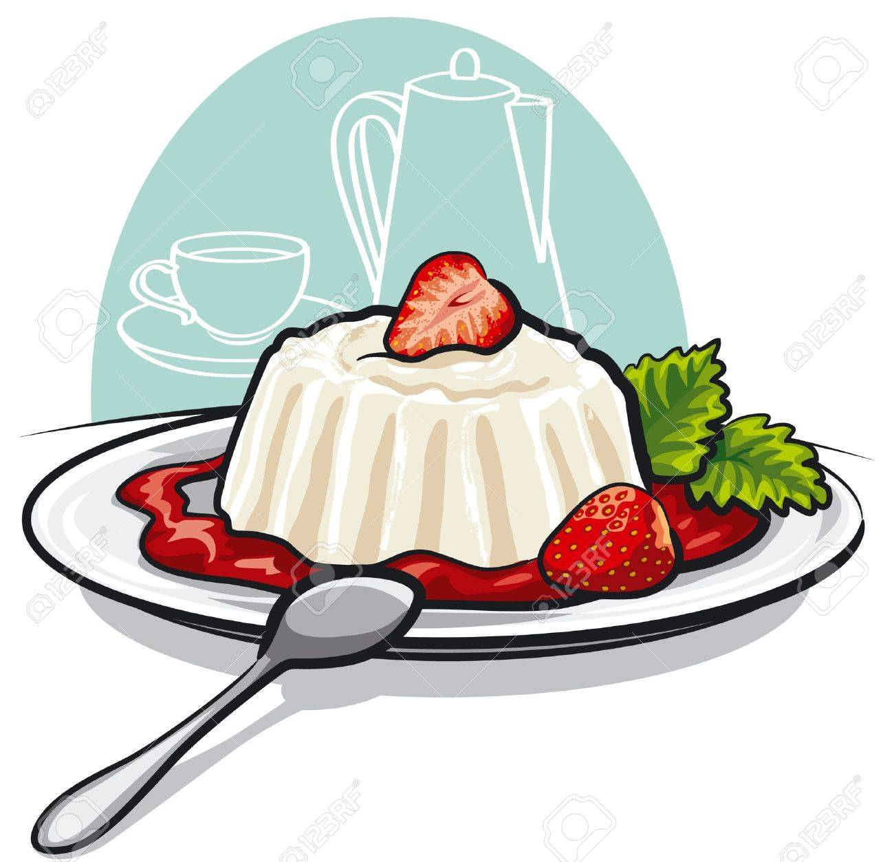 Dessert with cream and strawberries Stock Vector - 14417227