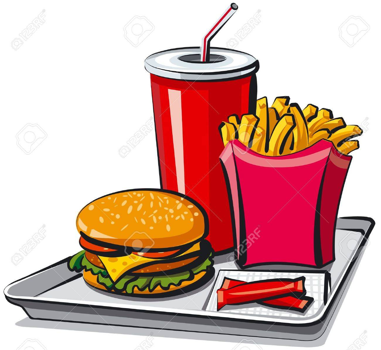 Fast-Food-Clipart Hamburger Clipart Pommes frites Pizza | Etsy