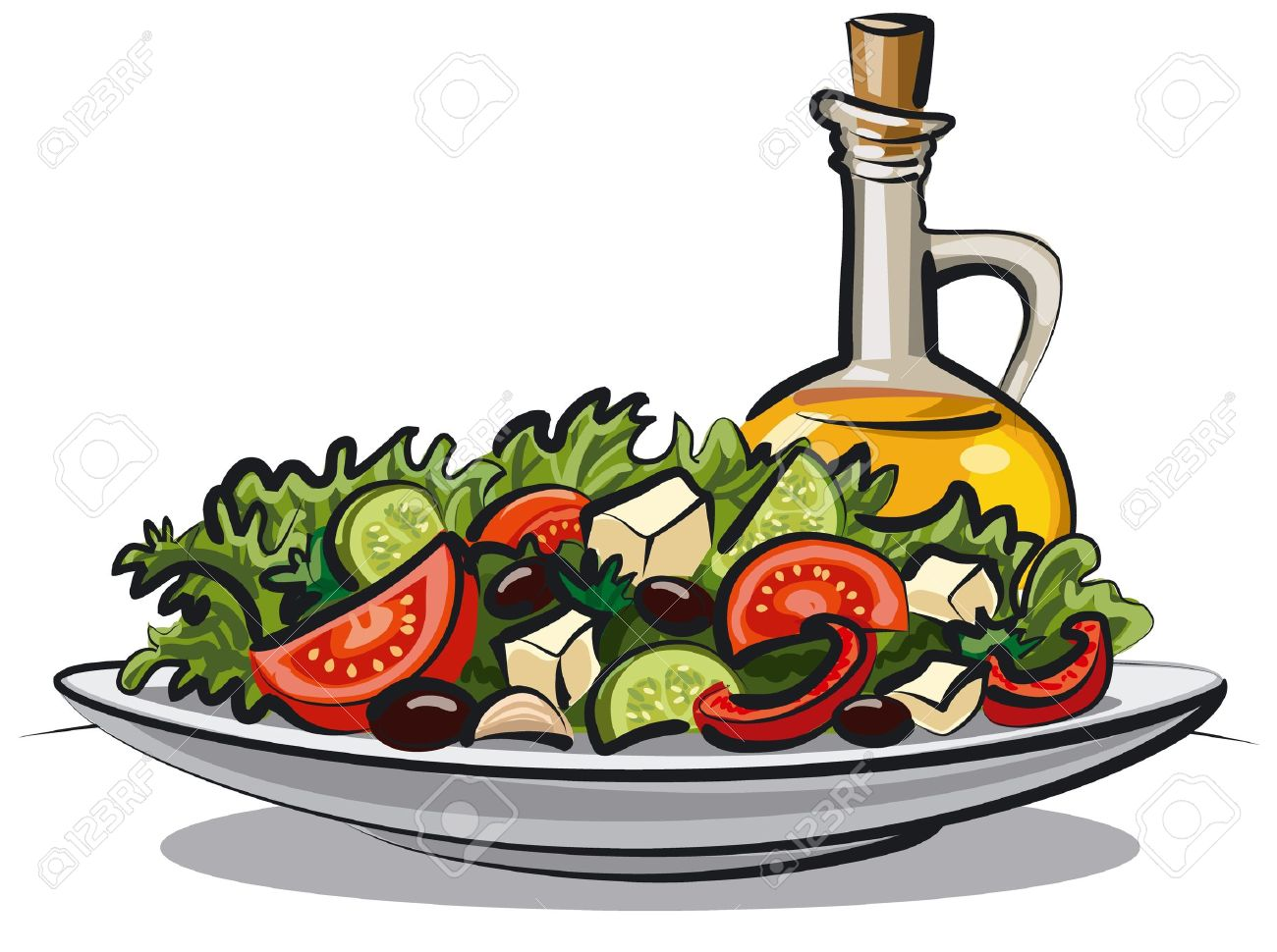 Fresh Vegetable Salad And Olive Oil Royalty Free Cliparts Vectors