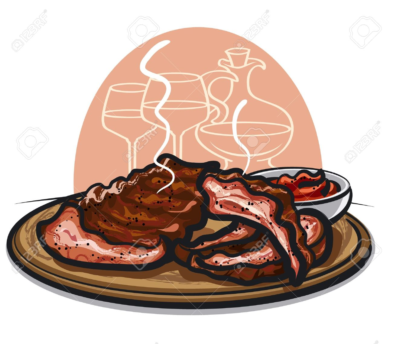 roasted spare ribs Stock Vector - 16059689