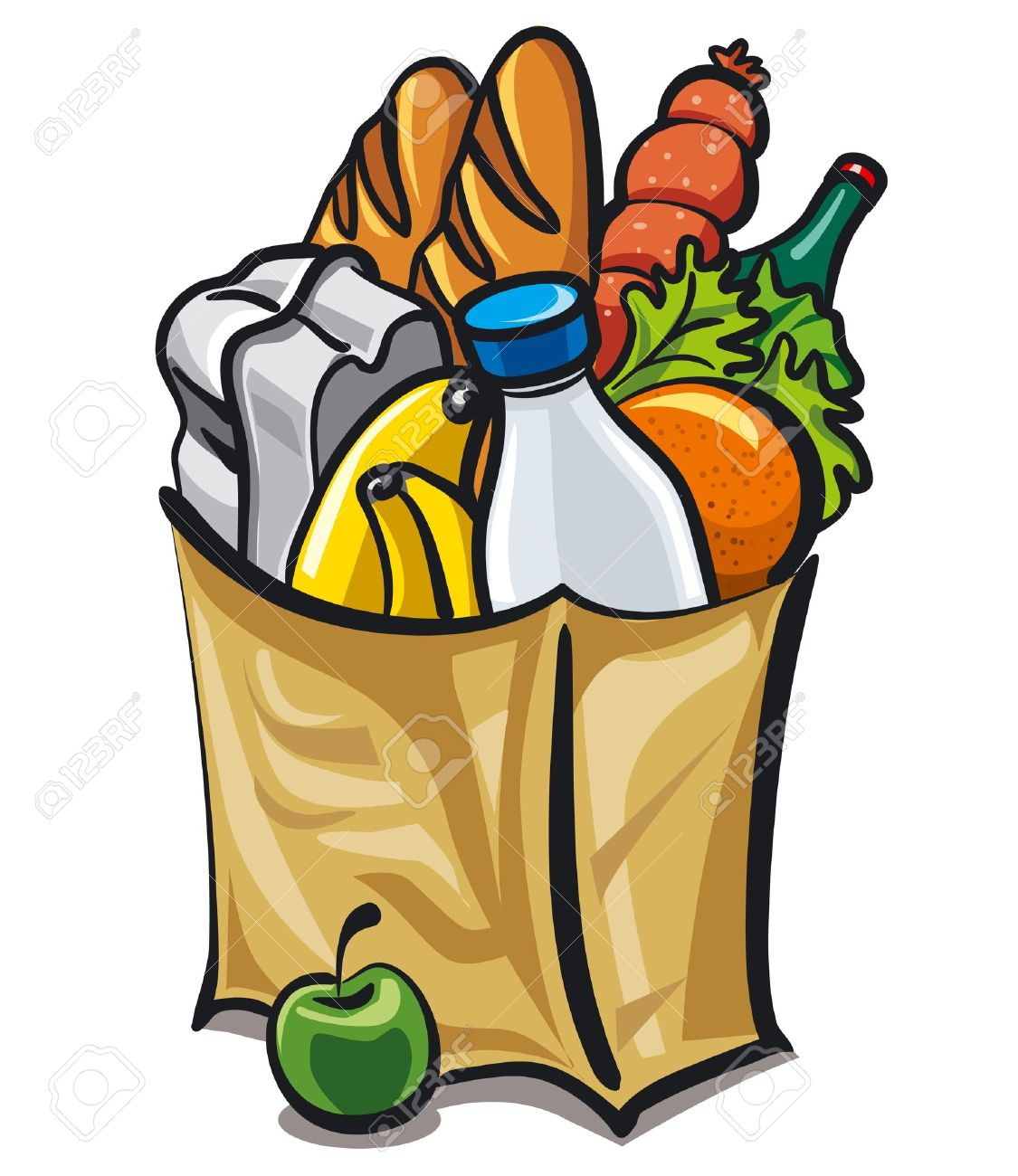 Paper Bag With Food Royalty Free Cliparts Vectors And Stock Illustration Image 17696518