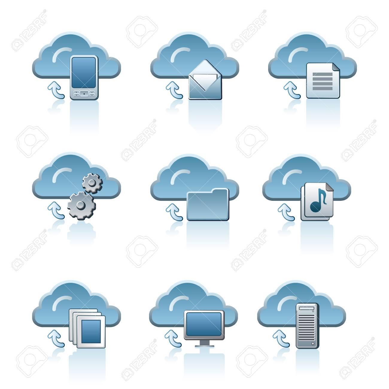 Cloud service icon set Stock Vector - 19234370