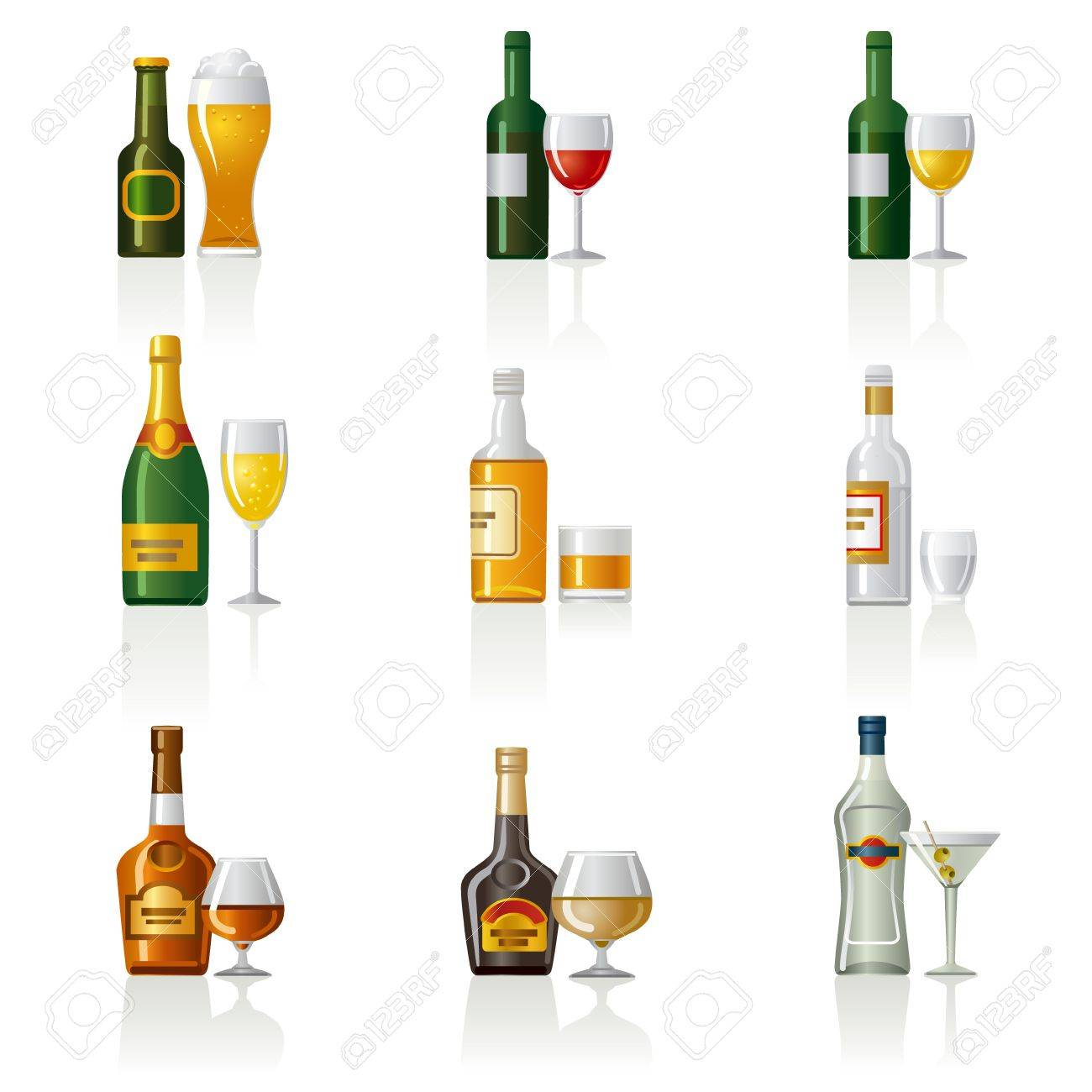 alcohol drinks icon set Stock Vector - 19481457