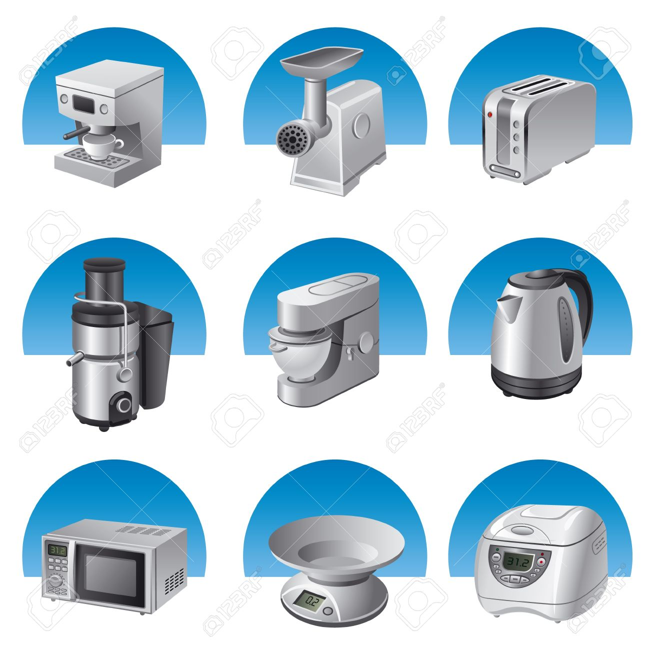 0 small kitchen appliances stock illustrations, cliparts and