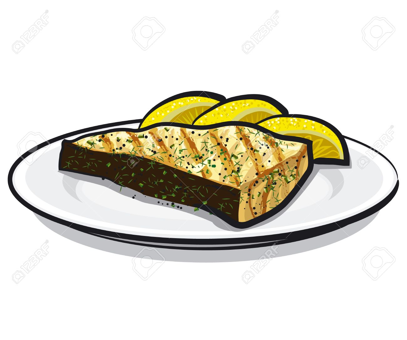 Baked Fish Royalty Free Cliparts, Vectors, And Stock Illustration ... for cooked salmon clipart  83fiz