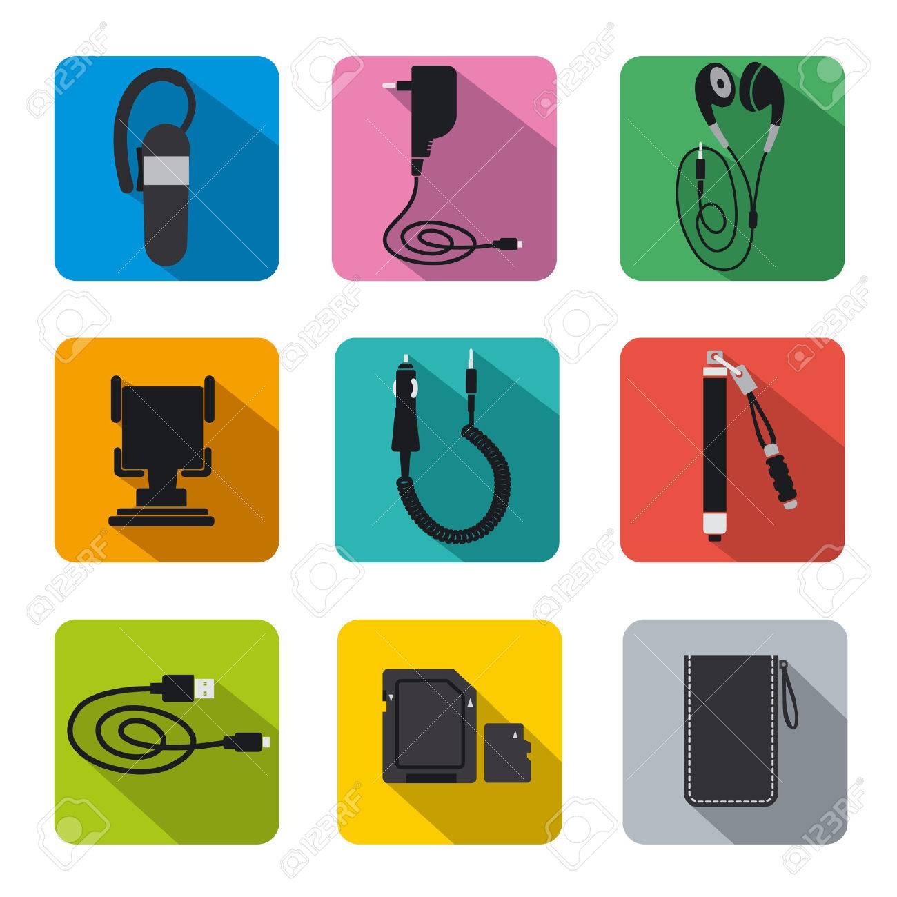 0872a07e8d8 Conjunto de iconos de accesorios de telefonía plana Foto de archivo -  26928395