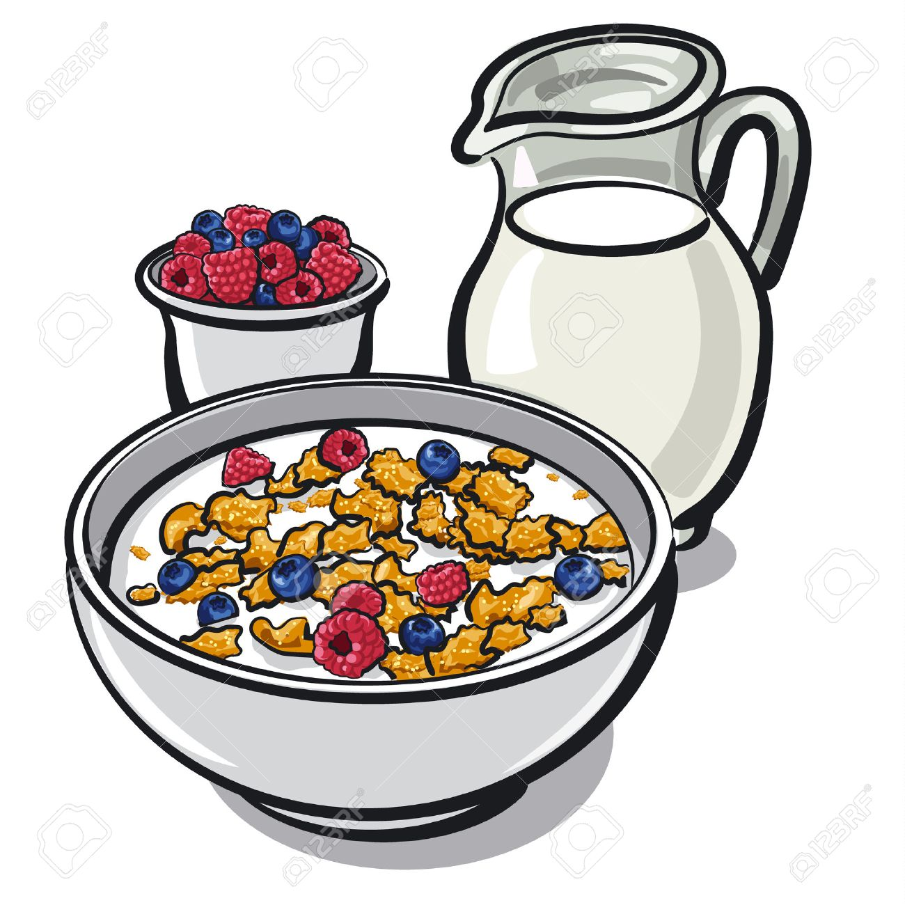healthy breakfast with cereal and milk with berries royalty free rh 123rf com