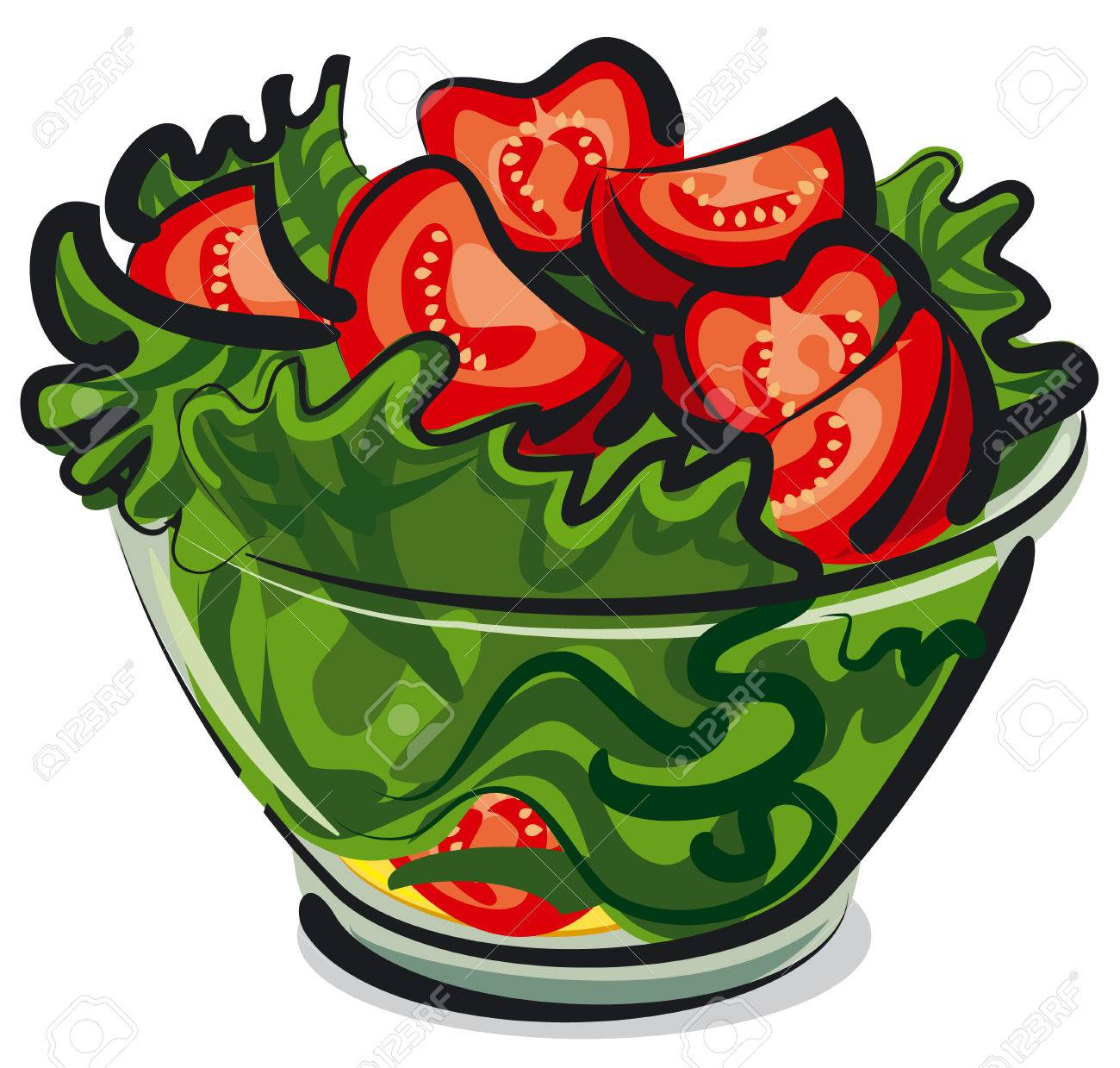 Salad With Tomatoes Royalty Free Cliparts Vectors And Stock