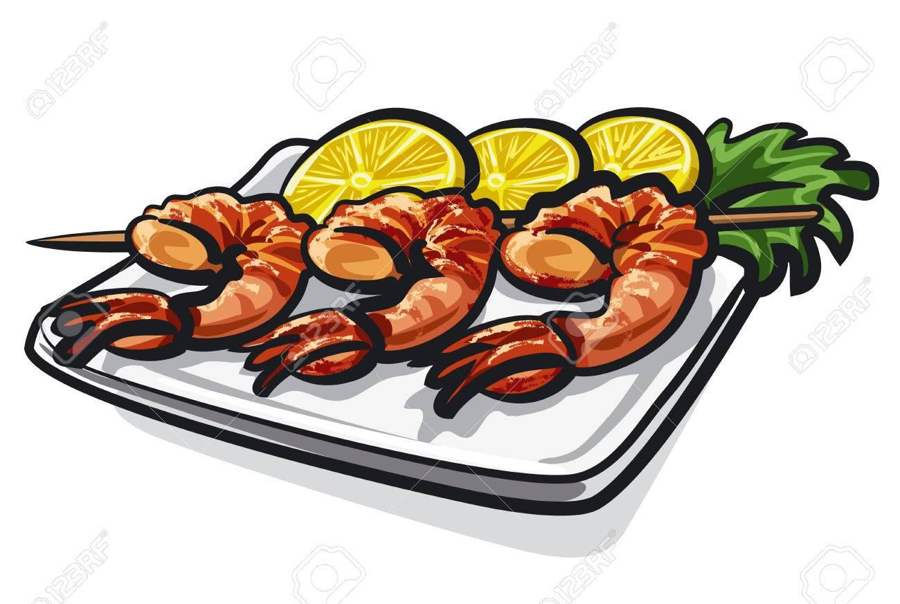 grilled sea food shrimps prawns with lemon on plate in restaurant rh 123rf com Cheesesteak Clip Art Cow Head Profile Clip Art