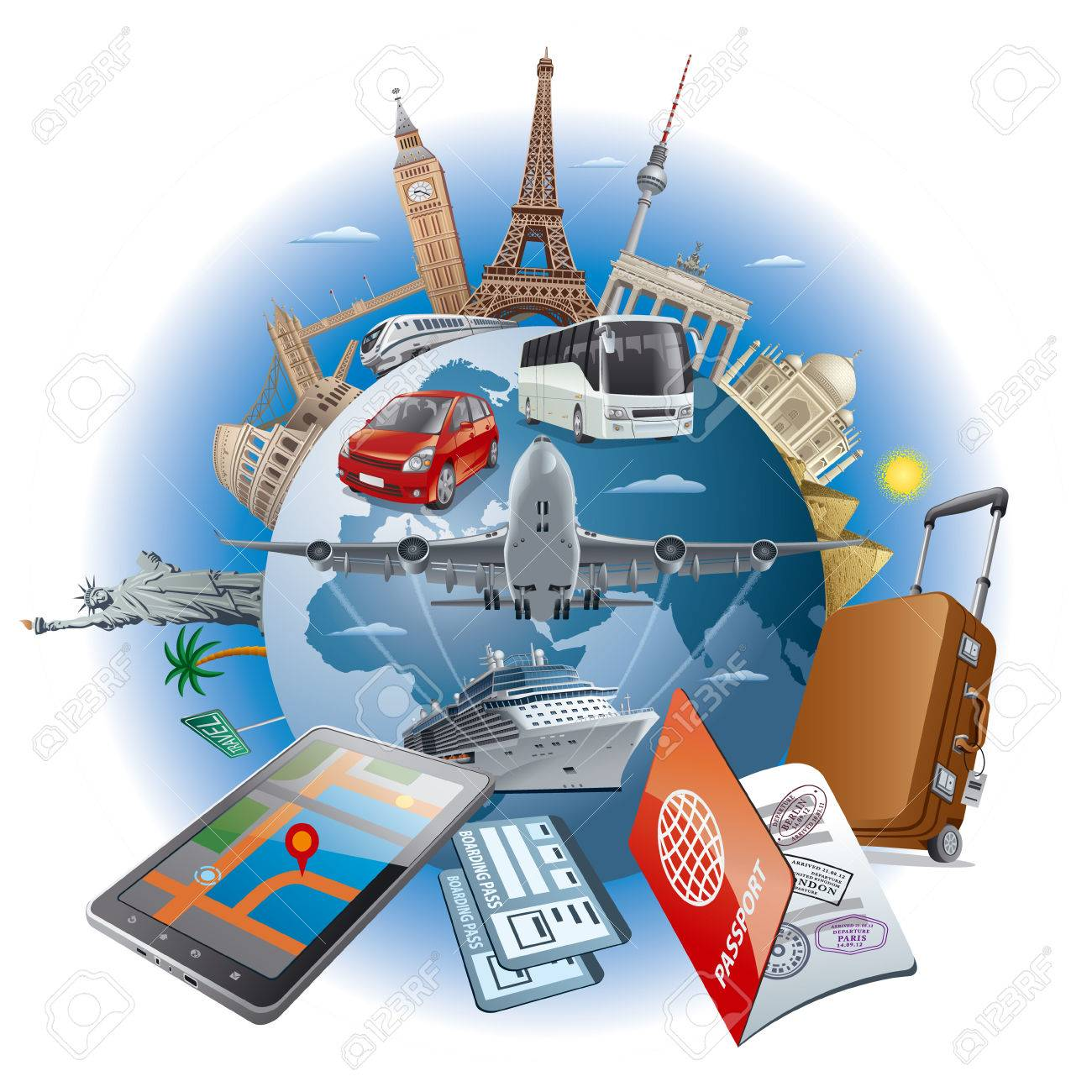 llustration of concept travel around the world famous landmarks by transport air, car, train, cruise ship - 61116264
