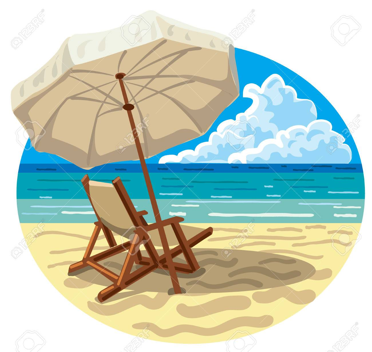 Illustration Of Lounge Chair And Umbrella On The Sand Sea Beach Stock  Vector   61116279