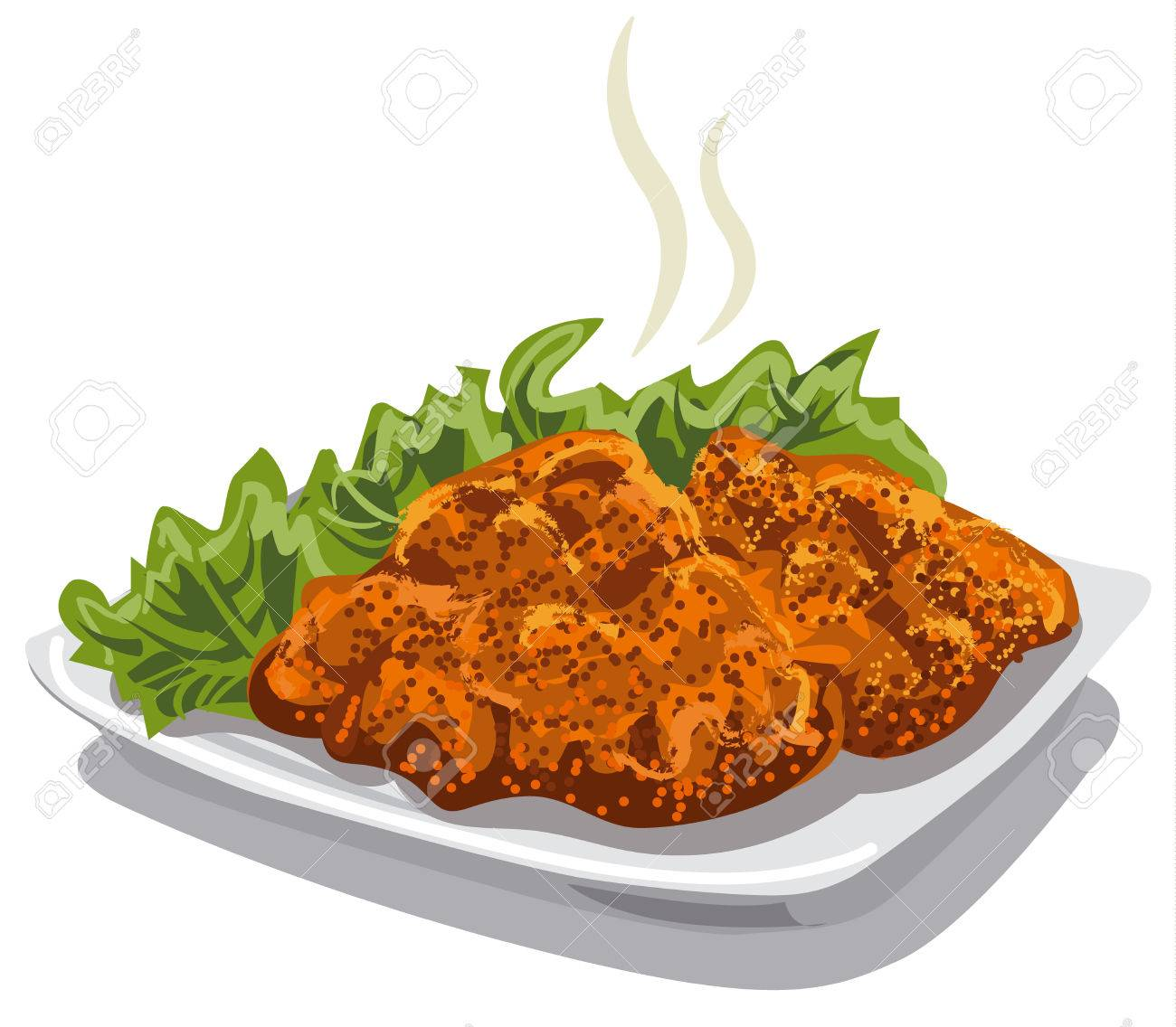 illustration of meat schnitzel with lettuce on plate - 63783350
