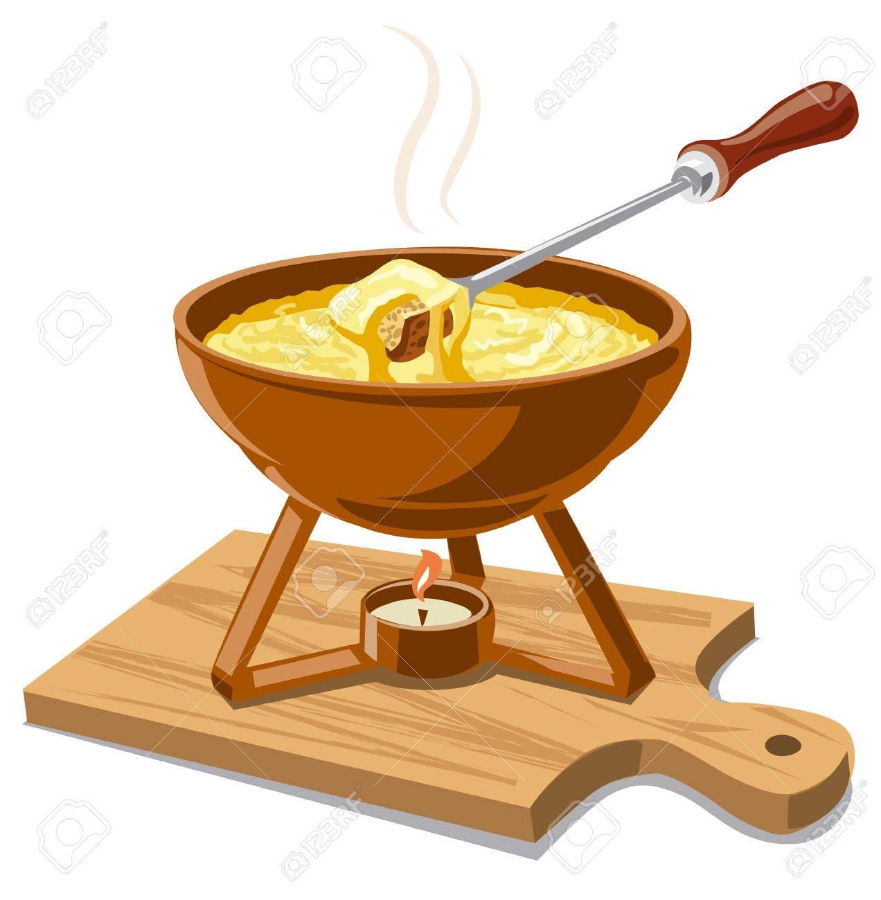 温かいチーズ フォンデュのイラストのイラスト素材ベクタ Image