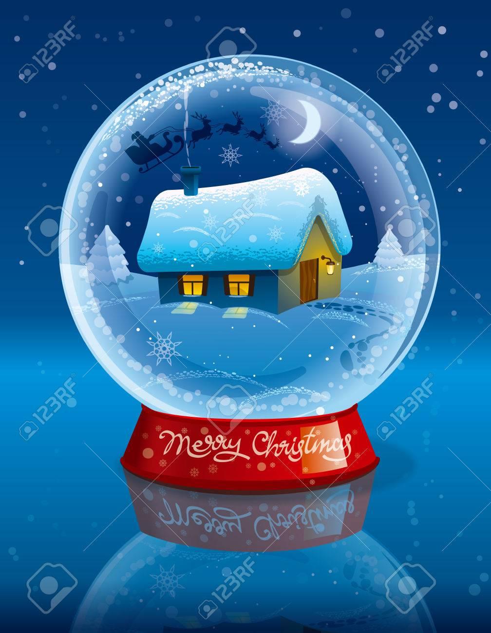 Illustration De Joyeux Joyeux Boule De Cristal De Noël Clip Art