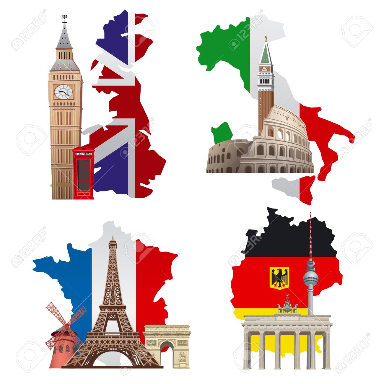 Map Of England France And Italy.Concept Illustrations Of Europe Landmarks And Maps France Italy
