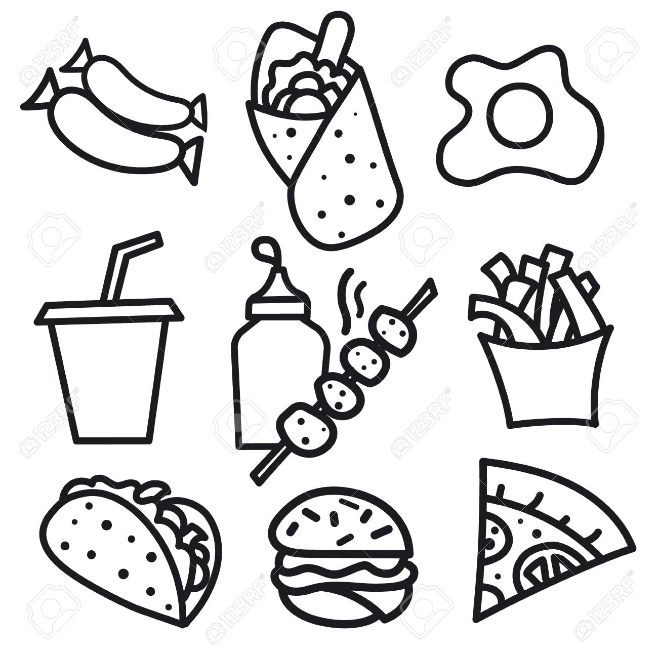 Illustration of set street food icons and signs black and white