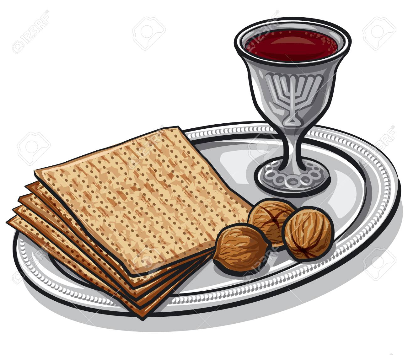 Illustration of traditional jewish matzoh with walnuts and wine - 96579093