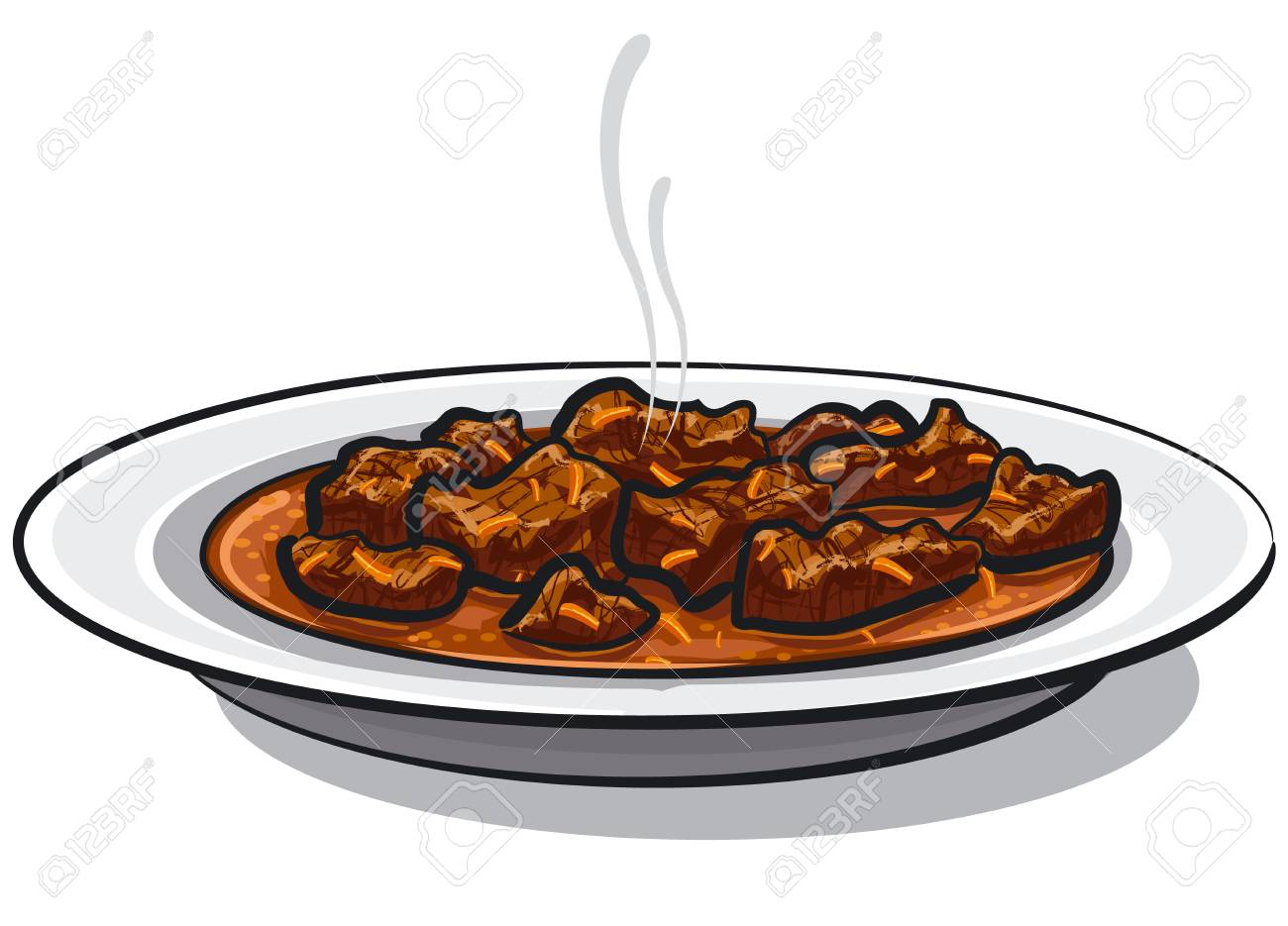 Illustration of traditional goulash meat dish in plate. - 100817448