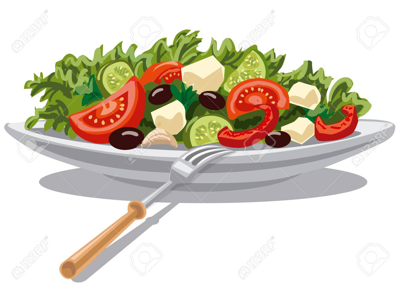 illustration of fresh greek salad with lettuce, tomatoes and olives - 110258987