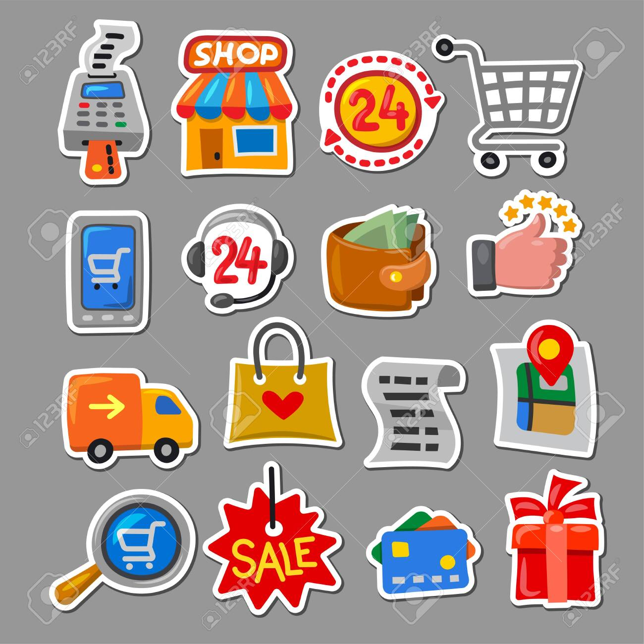 illustration of the set shopping and sale stickers in a cartoon style - 145299054
