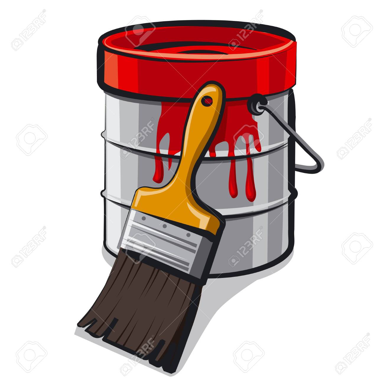 Illustration Of The Red Paint Bucket With A Brush On The White Royalty Free Cliparts Vectors And Stock Illustration Image 156026753