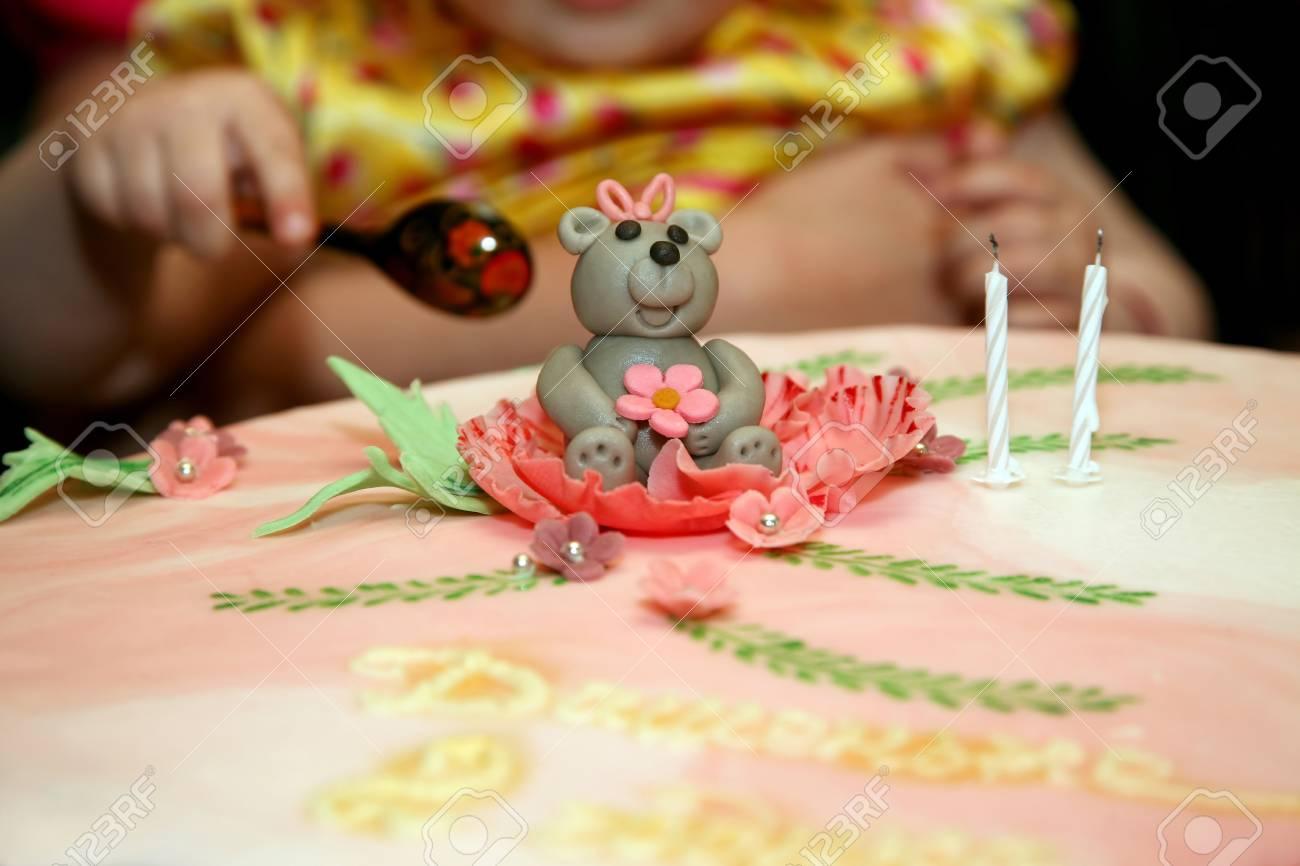 Schonen Kuchen Fur Baby Geburtstag Lizenzfreie Fotos Bilder Und