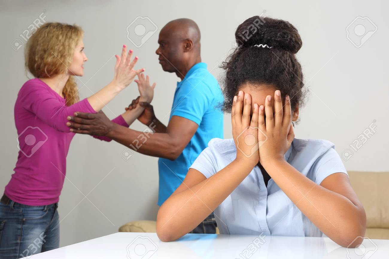 the parents in the family conflict out of the relationship with the teenage daughter - 95910582