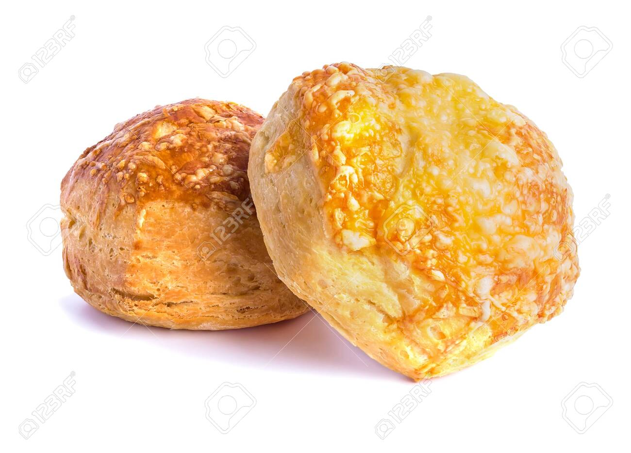 attractive airy puff pastry buns baked under cheese - 131987336