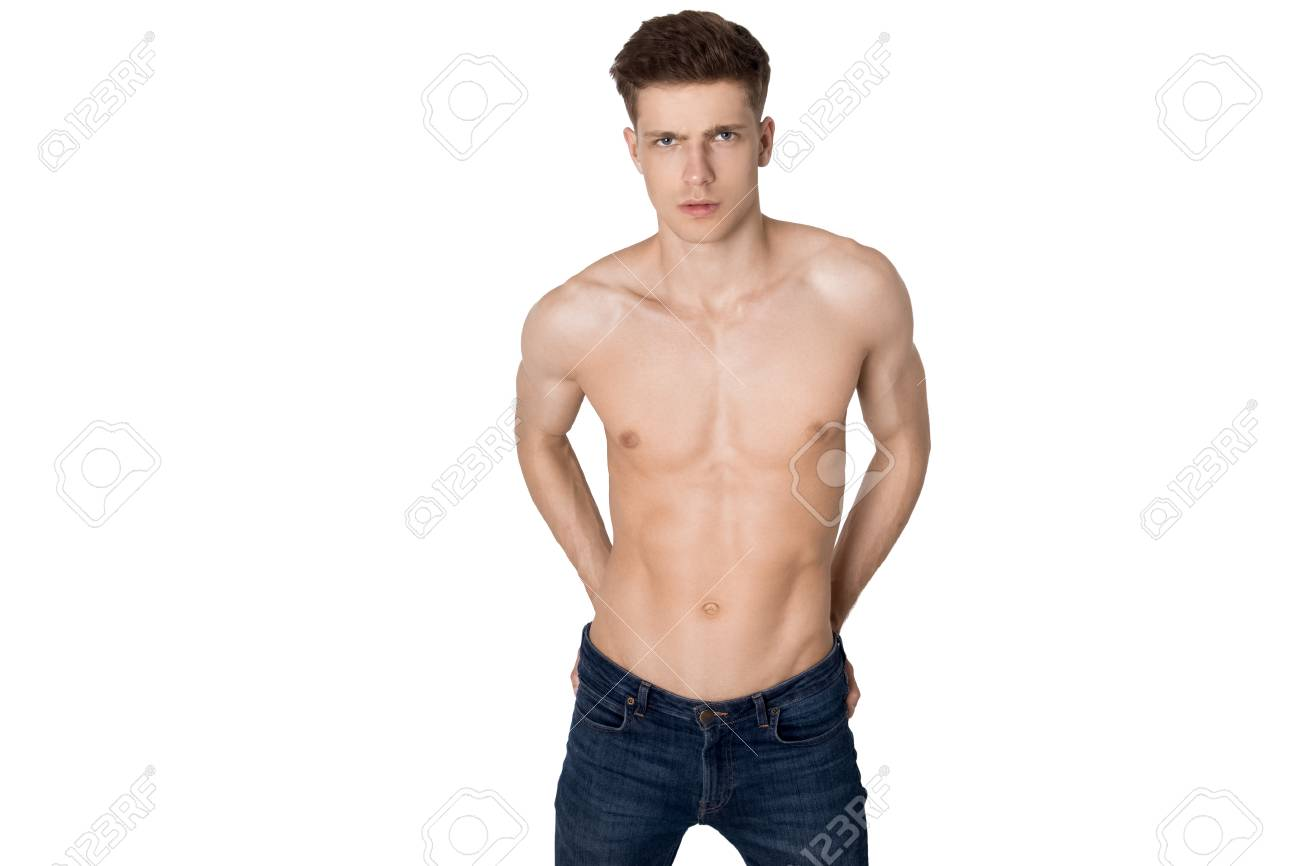Guy With No Shirt On White Background Stock Photo Picture And