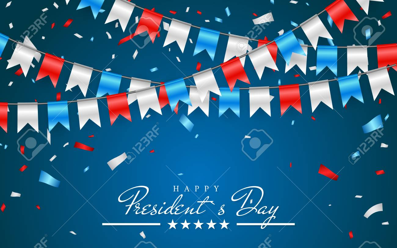 Illustration Patriotic Background with Bunting Flags for Happy Presidents Day and foil confetti., Colors of USA. Vector illustration. - 110528635