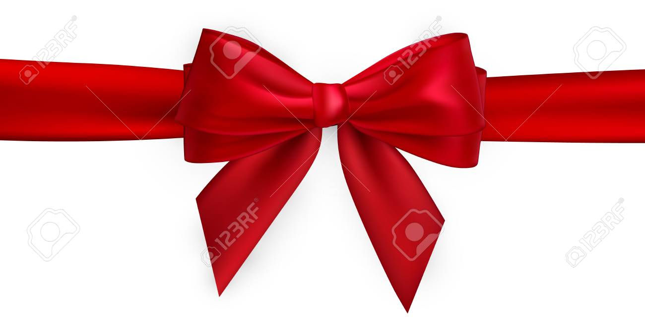 Realistic red bow and ribbon. Element for decoration gifts, greetings, holidays. Vector illustration. - 126450012