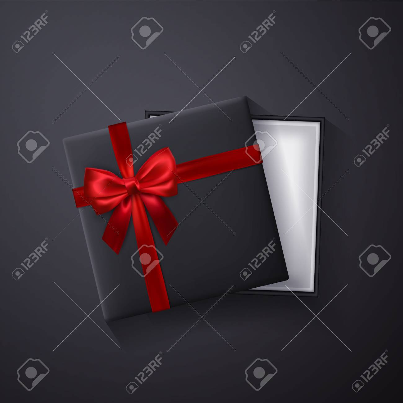 Open black empty gift box with red bow and ribbon on dark background. Top view. Template for your presentation, banner or poster. Vector illustration. - 125779275