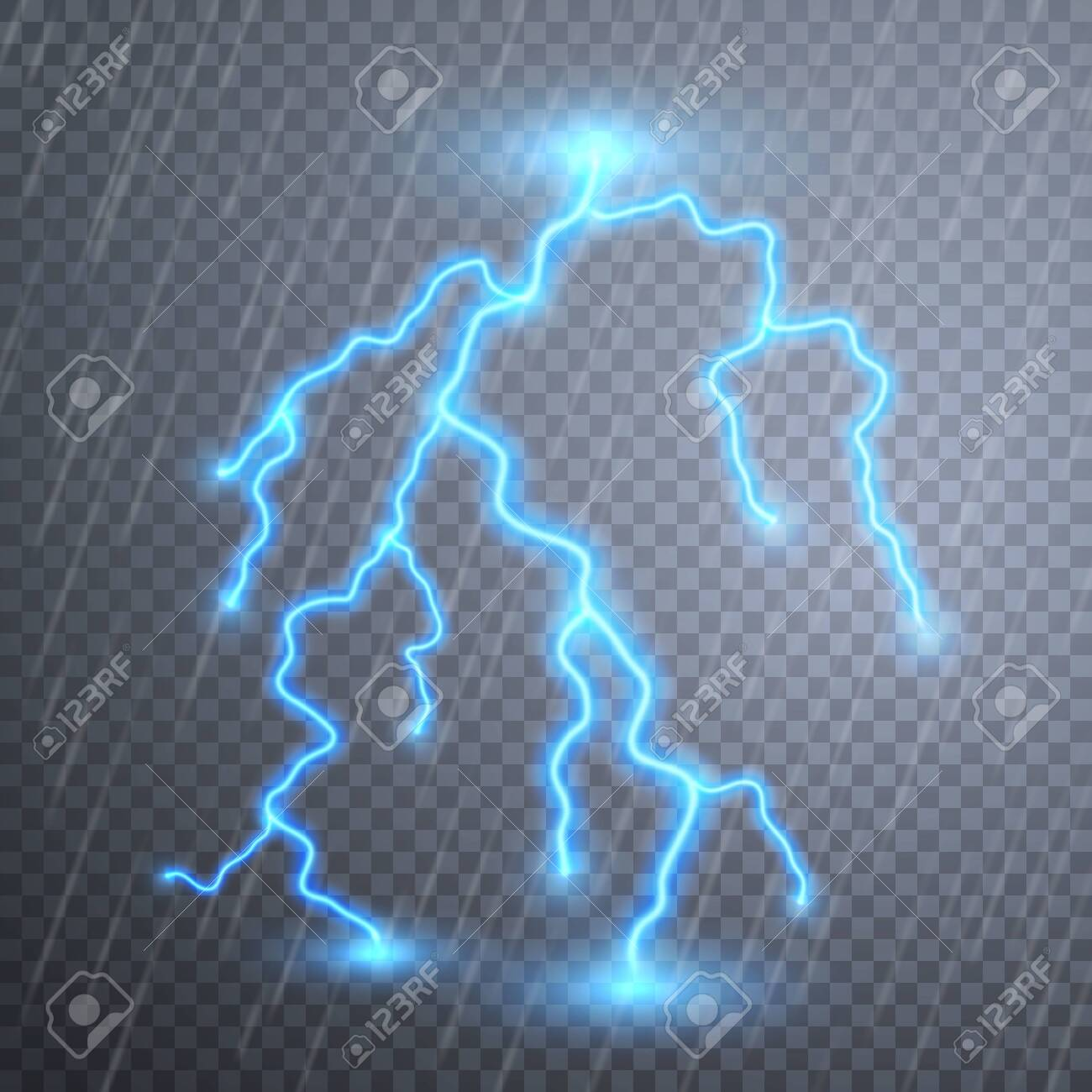 Realistic lightnings with transparency for design. Thunder-storm and lightnings. Magic and bright lighting effects. Vector illustration. - 123630498