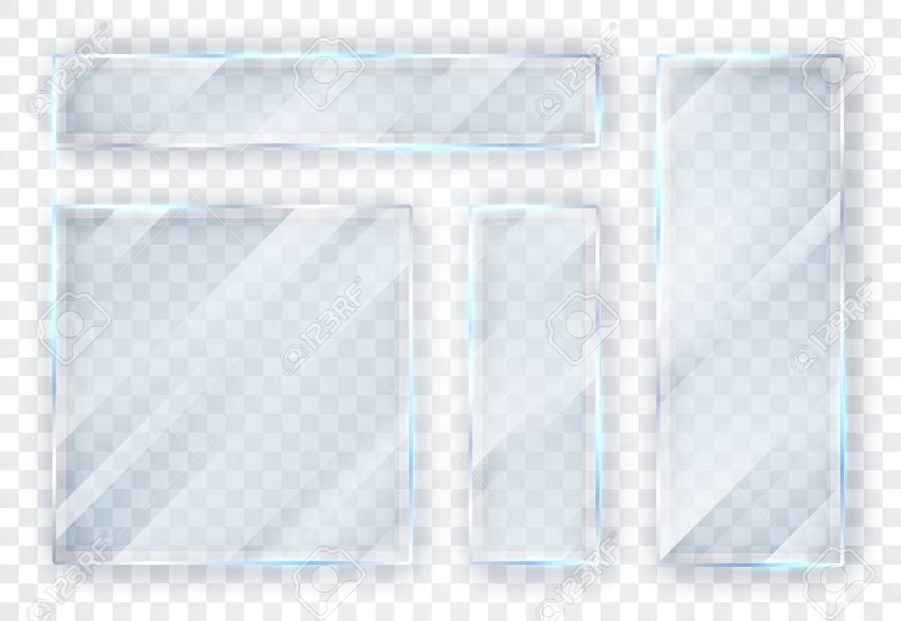 Glass plates set. Glass banners on transparent background. Flat glass. Vector illustration. - 123630507