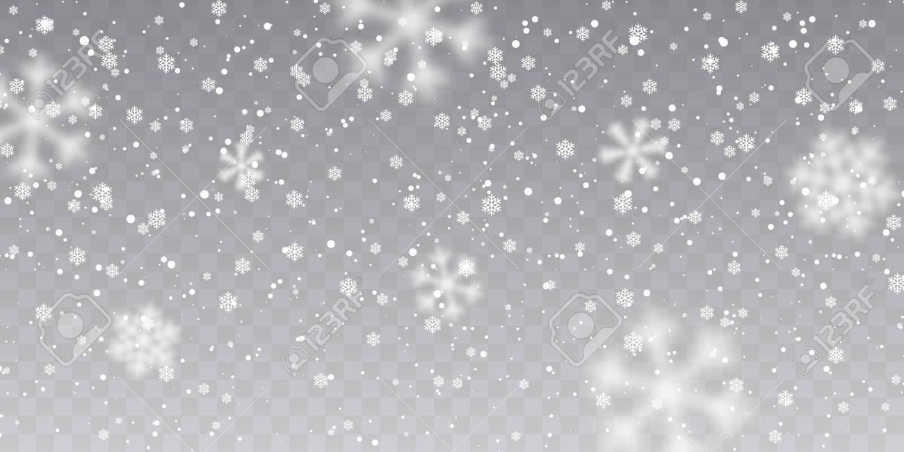 Christmas snow. Falling snowflakes on transparent background. Snowfall. Vector illustration. - 132031978