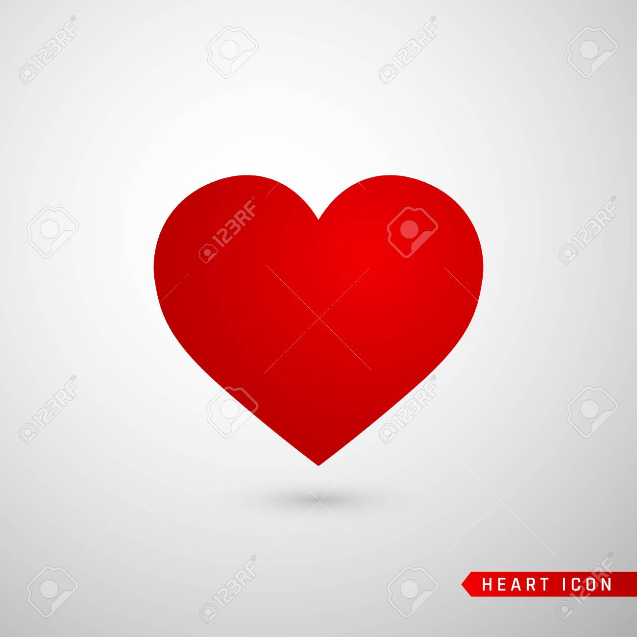 Heart flat icon. Love symbol isolated on gray background. Vector illustration. - 135796150