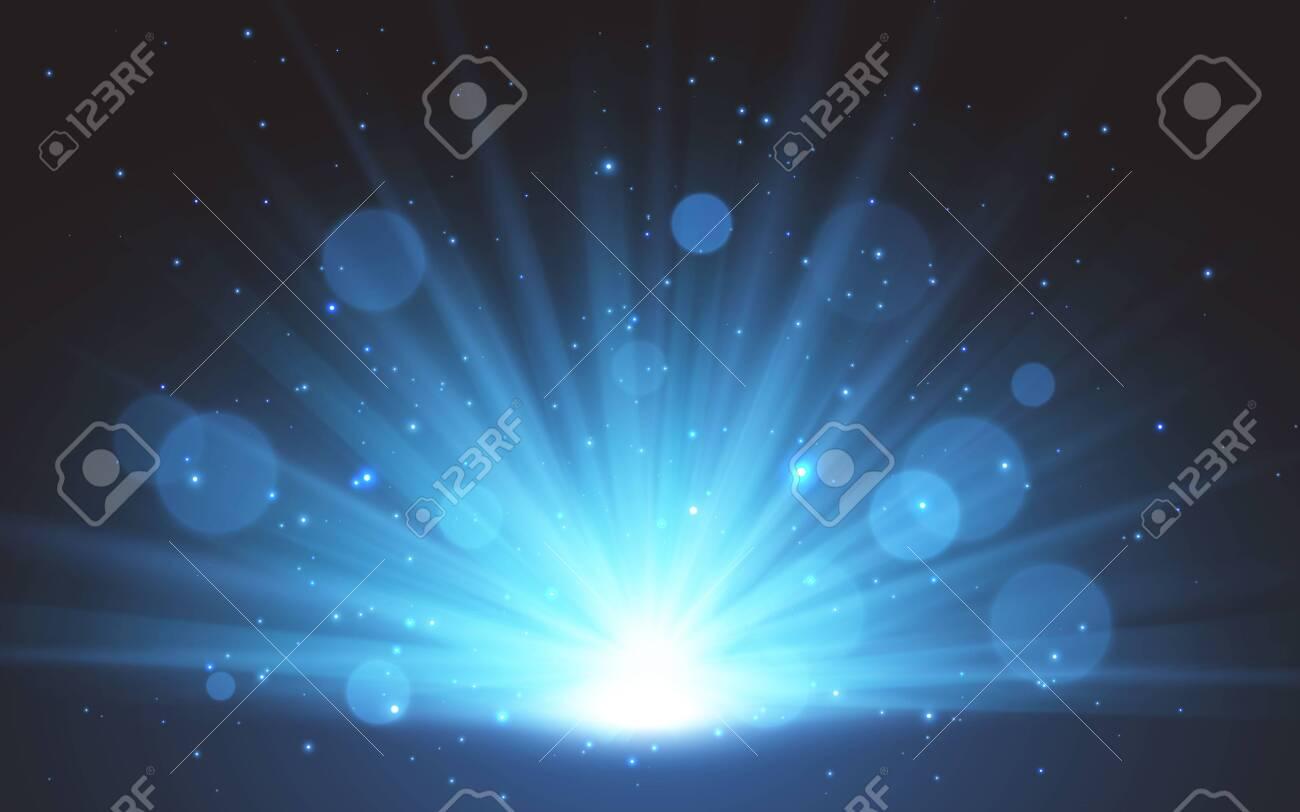 Blue magic Sunrise. Sunlight special lens flash light effect on transparent background. Effect of blurring light. Vector Illustration. - 145552957