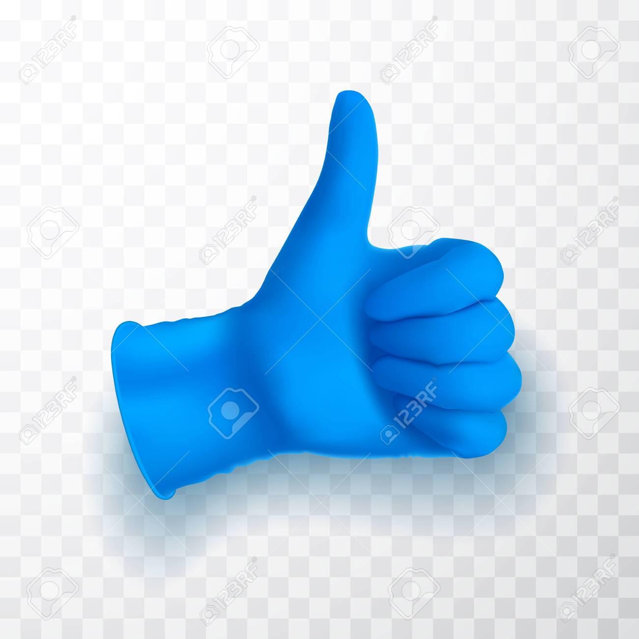 Ok, okay sing. Realistic medical latex glove. Details blue 3d medical glove. Vector illustration. - 145568006