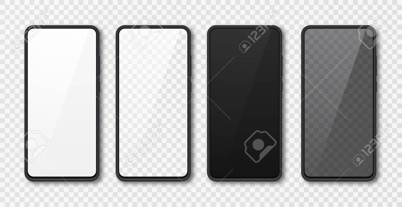 Realistic smartphone mock up set. Mobile phone display isolated on white gray background. 3D template illustration. Vector illustration. - 145553450
