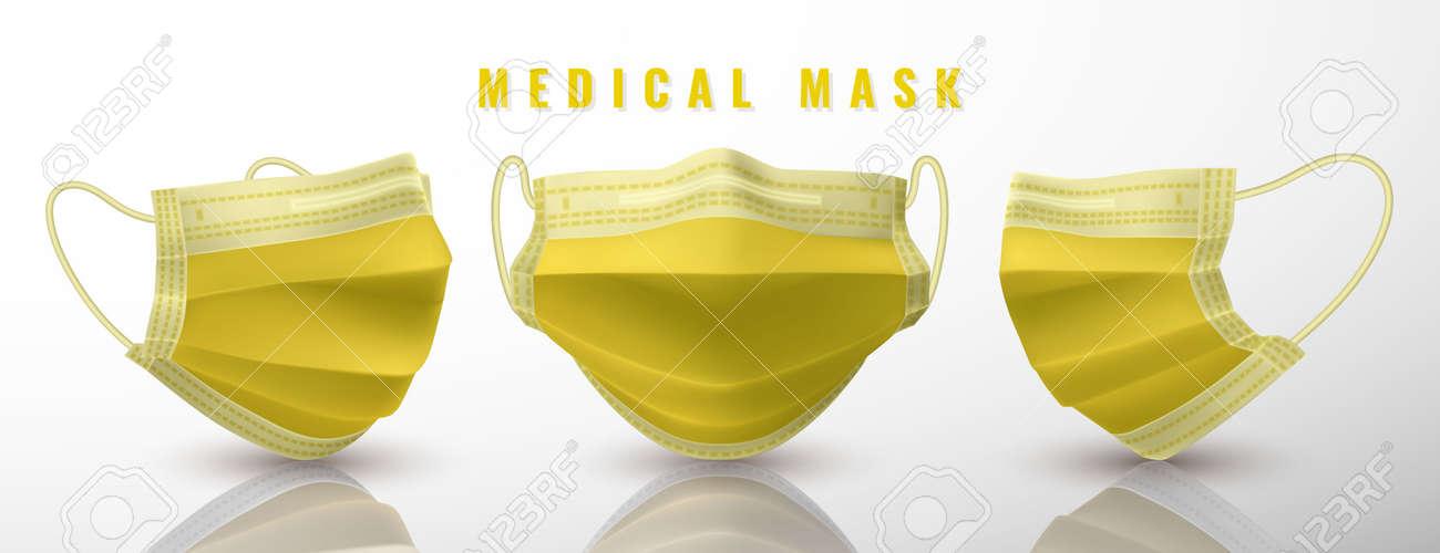 Realistic medical face mask. Details 3d medical mask. Vector illustration. - 145568052