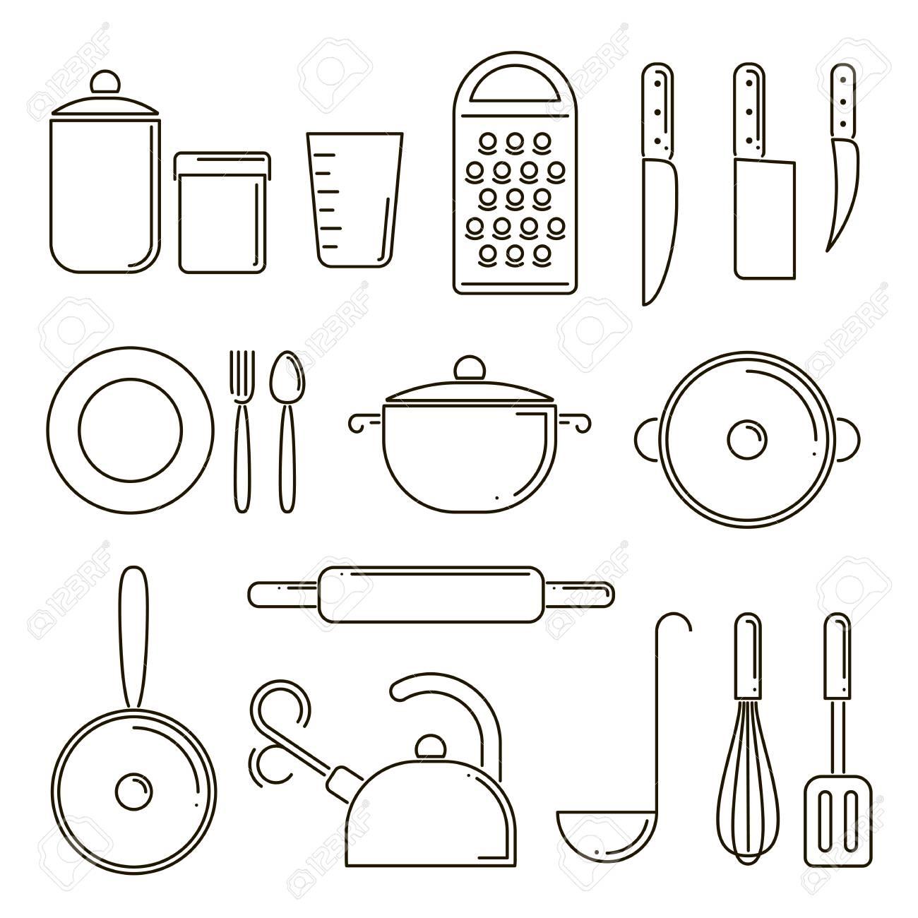 Satz Küchengeräte Lokalisiert, Linie Kunst. Elemente Für Die ...