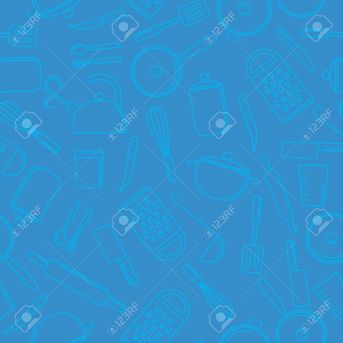 8ab4e6e7e Foto de archivo - Patrón sin fisuras de coloridos utensilios de cocina  sobre fondo azul. Conjunto de herramientas de cocina.