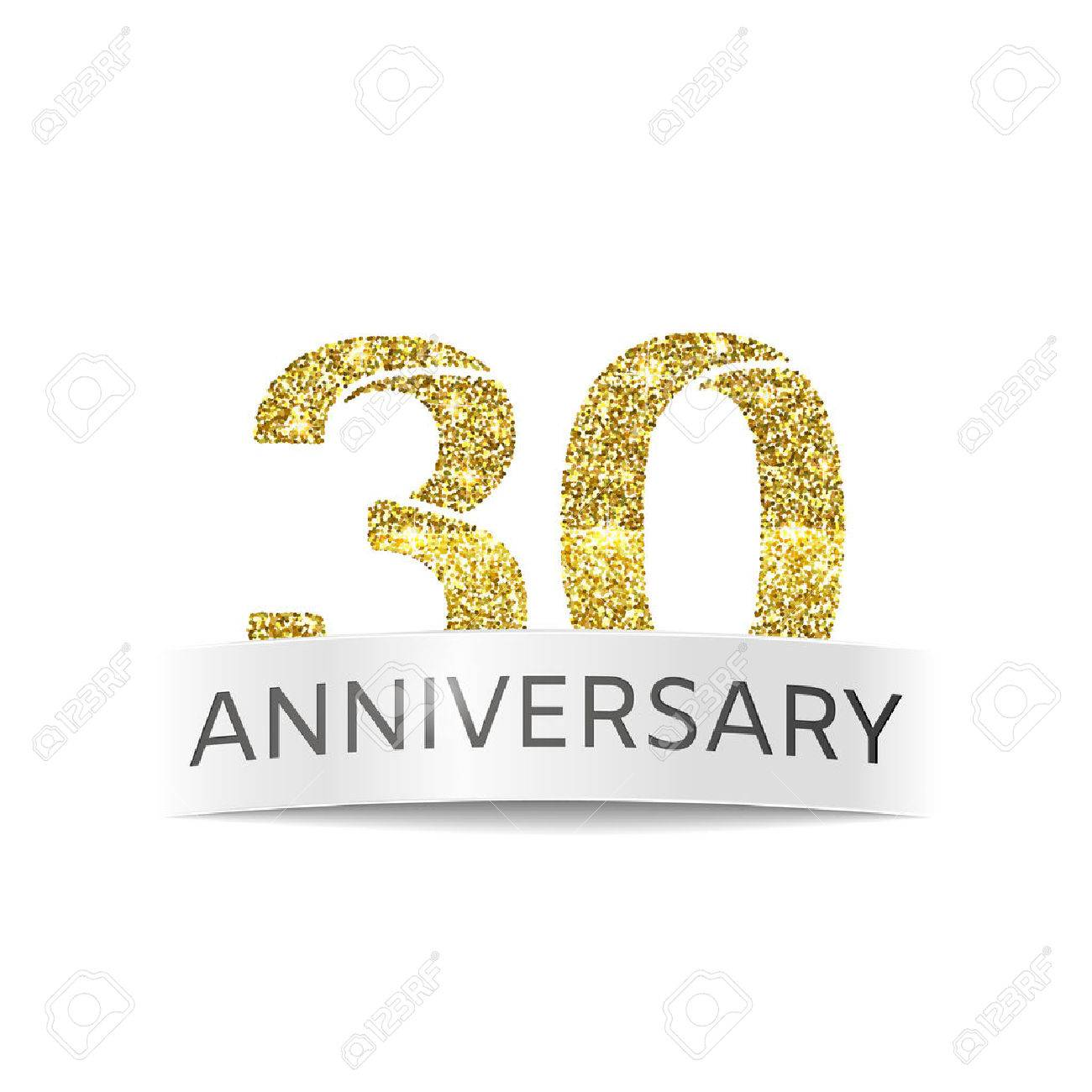 The Thirtyyear Anniversary Banner 30th Birthday Golden Glitter