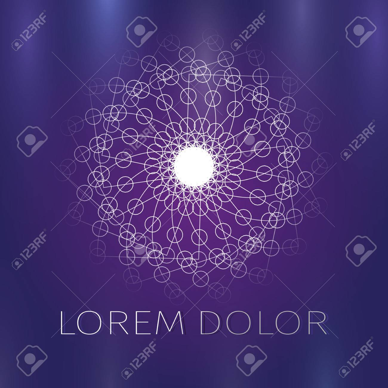 The abstract geometric flower in the Hindu style. Unusual logo of a sun or Lotus flower on a purple background - 84328172