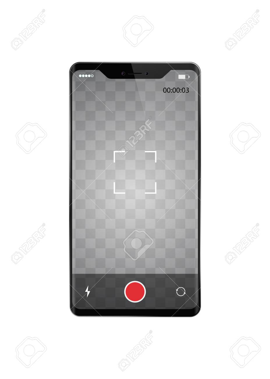 A Smartphone With Frame Less Recording Video Vector Illustration ...