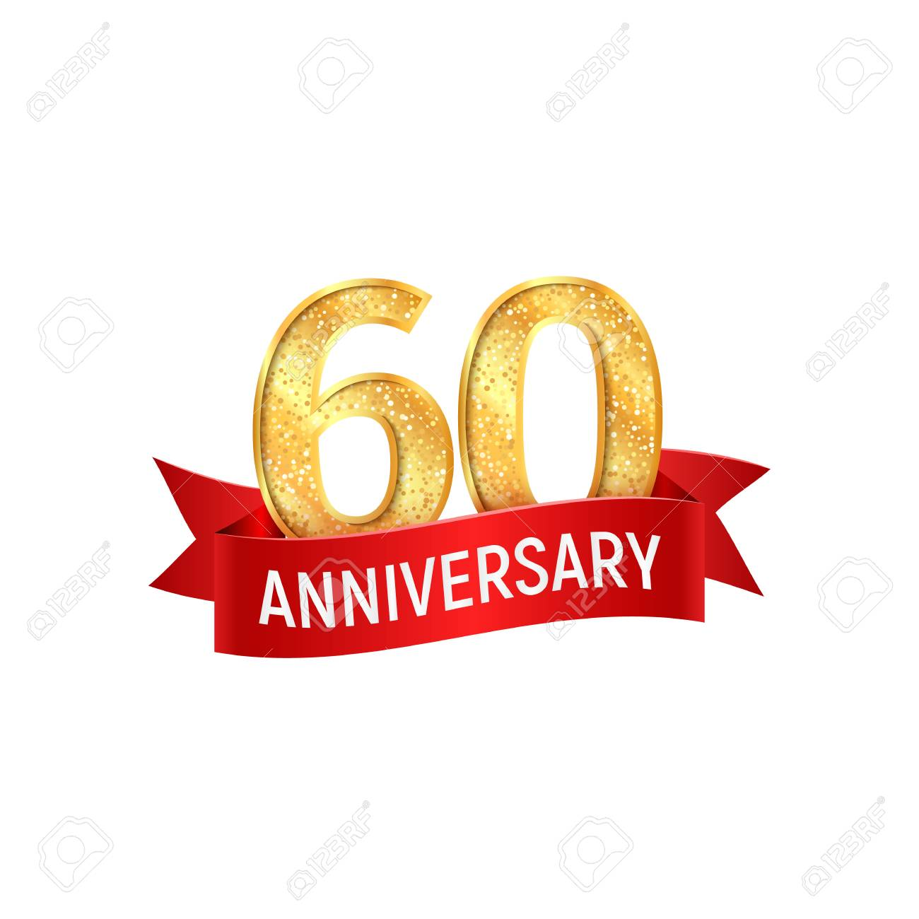 Sixtieth Anniversary With Red Ribbon Vector Illustration On White ...
