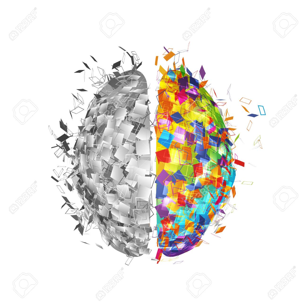 Abstract human brain with colorful right part and monochromicorn left part . Visual logo of mind isolated vector illustration - 93458351