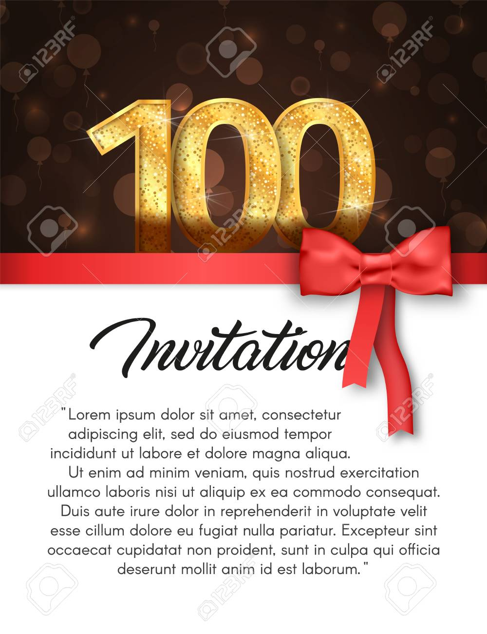 Invitation card for 100 years anniversary vector illustration invitation card for 100 years anniversary vector illustration template of holiday banner with red stripe stopboris
